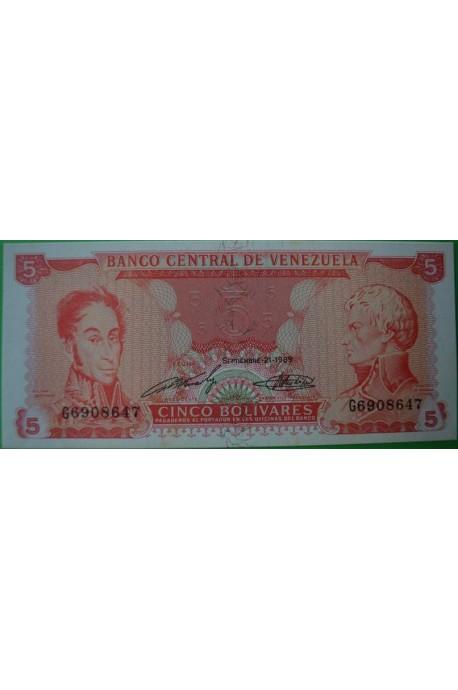 5 Bolívares Septiembre 21 1989 G7