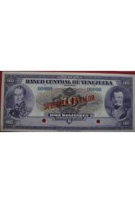10 Bolívares Espécimen 1945/1953 sin Valor Anv.