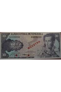 10 Bolívares Espécimen  Enero 29 1980 Muestra Anv.