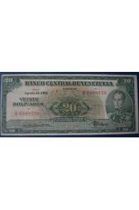 20 Bolívares Agosto 21 1952 Serie G7