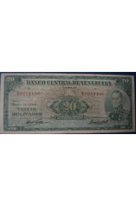 20 Bolívares Marzo 11 1960 Serie V7