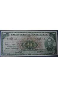 20 Bolívares Junio 6 1961 Serie Y7