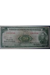 20 Bolívares Junio 2 1964 Serie C7
