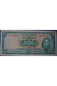 20 Bolívares Enero 27 1970 Serie Q7