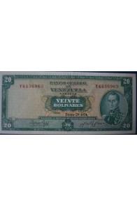 20 Bolívares Enero 29 1974 Serie Y7