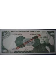 20 Bolívares Octubre 6 1981 Espécimen sin Valor Anv.