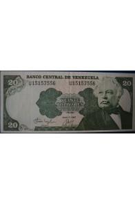 20 Bolívares Julio 7 1987 Serie U8