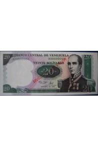 20 Bolívares Octubre 20 1987  Espécimen Anv.