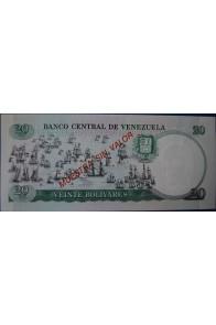 20 Bolívares Octubre 20 1987 Espécimen Rev.