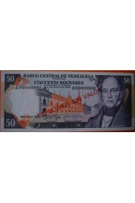 50 Bolívares  Febrero-22-1972 Espécimen Anv.