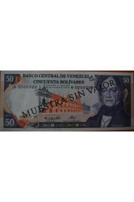 50 Bolívares Diciembre 10 1985 Espécimen Anv.