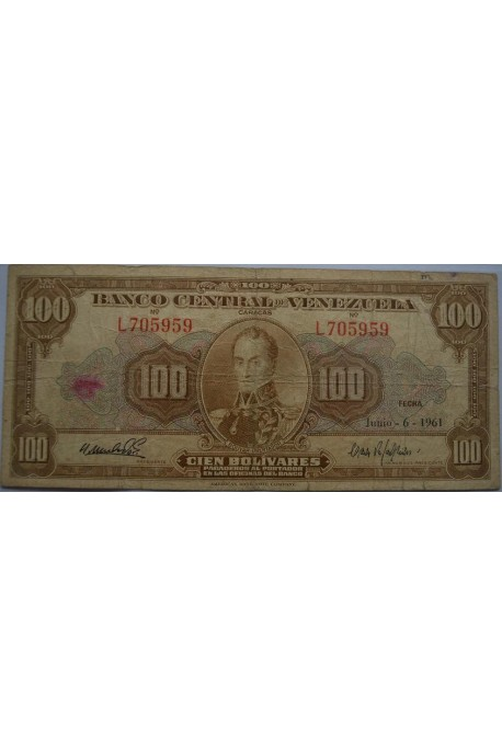 100 Bolívares  Junio 6 1961 Serie L6