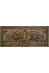100 Bolívares  Julio 3 1962 Serie M6