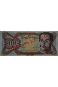 "100 Bolívares Espécimen ""Serial en Rojo"" Anv."