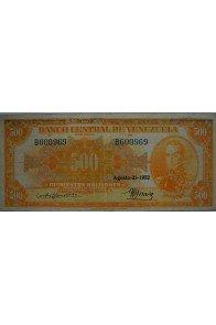 500 Bolívares  Agosto 21 1952 Serie B6