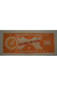 500 Bolívares Espécimen 1956-1971 Rev.