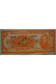 500 Bolívares Espécimen 1956-1971 Anv.