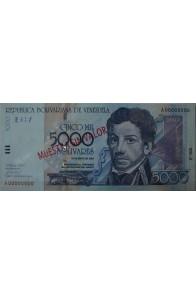 5000 Bolívares Espécimen Mayo 25 2000 Serie A8 Anv
