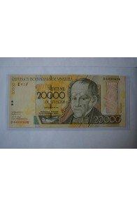 20000 Bolívares Agosto 13 2002 Serie B8