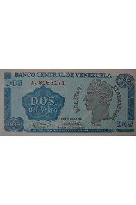 2 Bolívares Octubre 05 1989 Serie AJ7